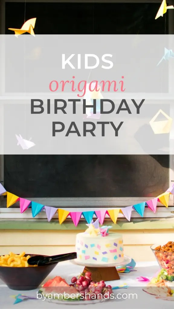 When my son asked for an Origami Birthday Party, I had to figure out what that would be! We threw some stuff together, and made a super fun party that he loved! Check it out! #birthday #party #origami #kids #cake #food #decor #activities #games