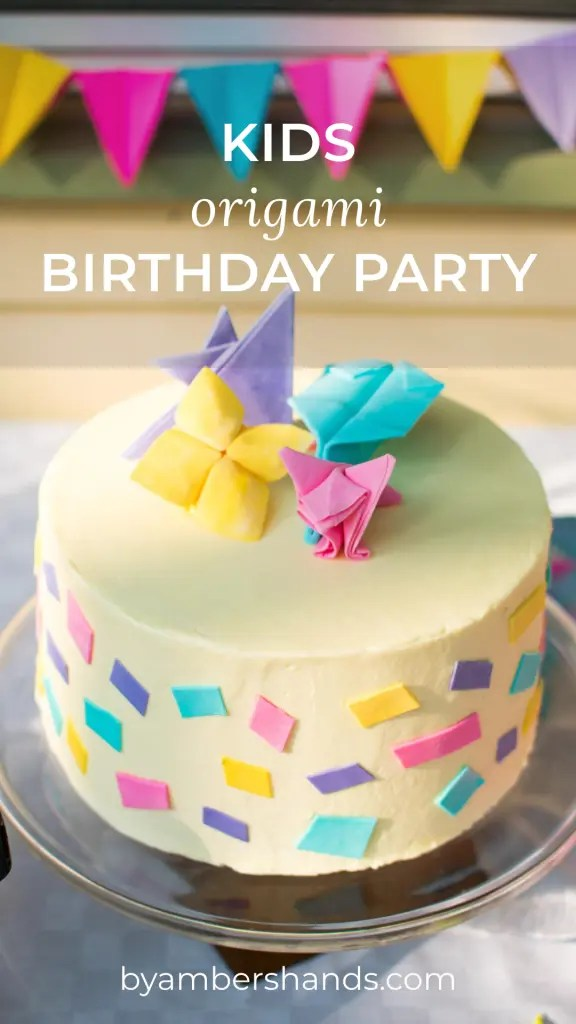 Need a new fun idea for a birthday party? How about an origami party? Find out how we created a party around this fun paper craft! #birthday #party #origami #kids #cake #food #decor #activities #games