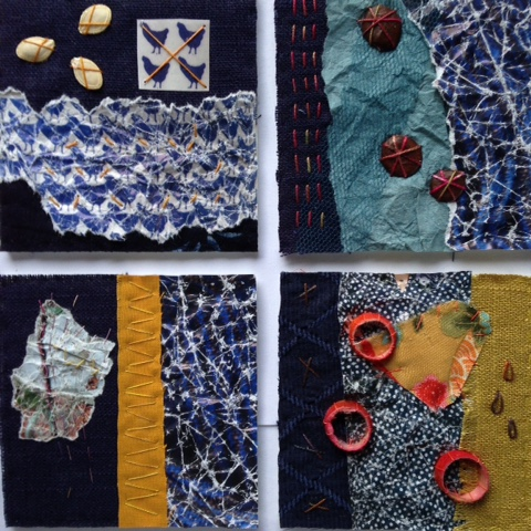 collage mixed media papir håndfarvet silkegarn