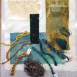 collage håndfarvet stof silketråd