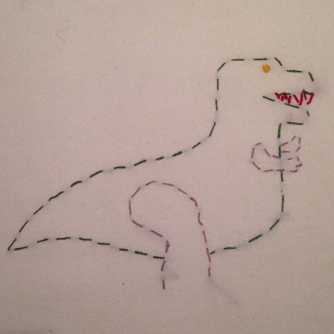 broderi børn dinosaur