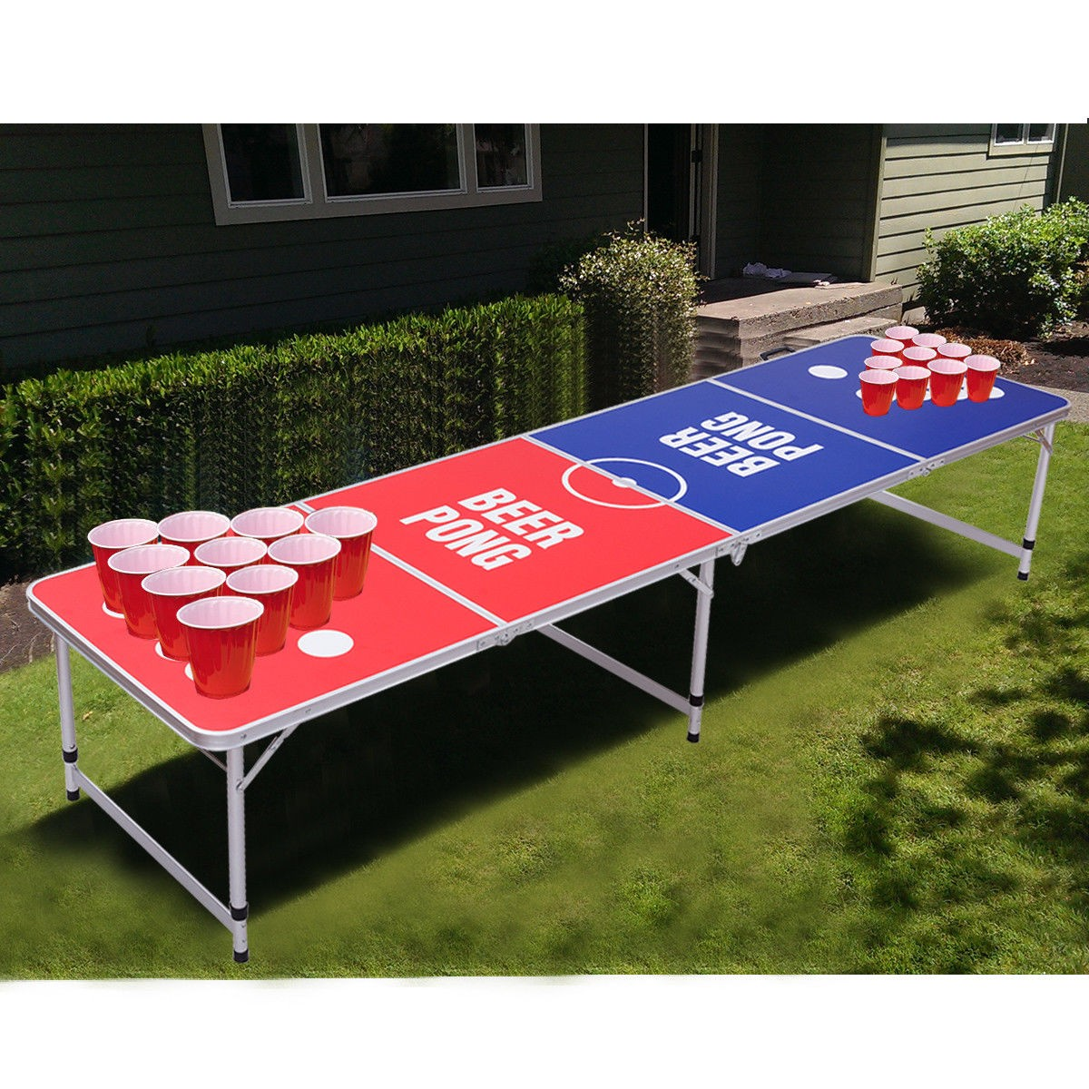 8 ft indoor outdoor portable folding beer pong table by choice rh bychoiceproducts com beer pong table dimensions beer pong table length