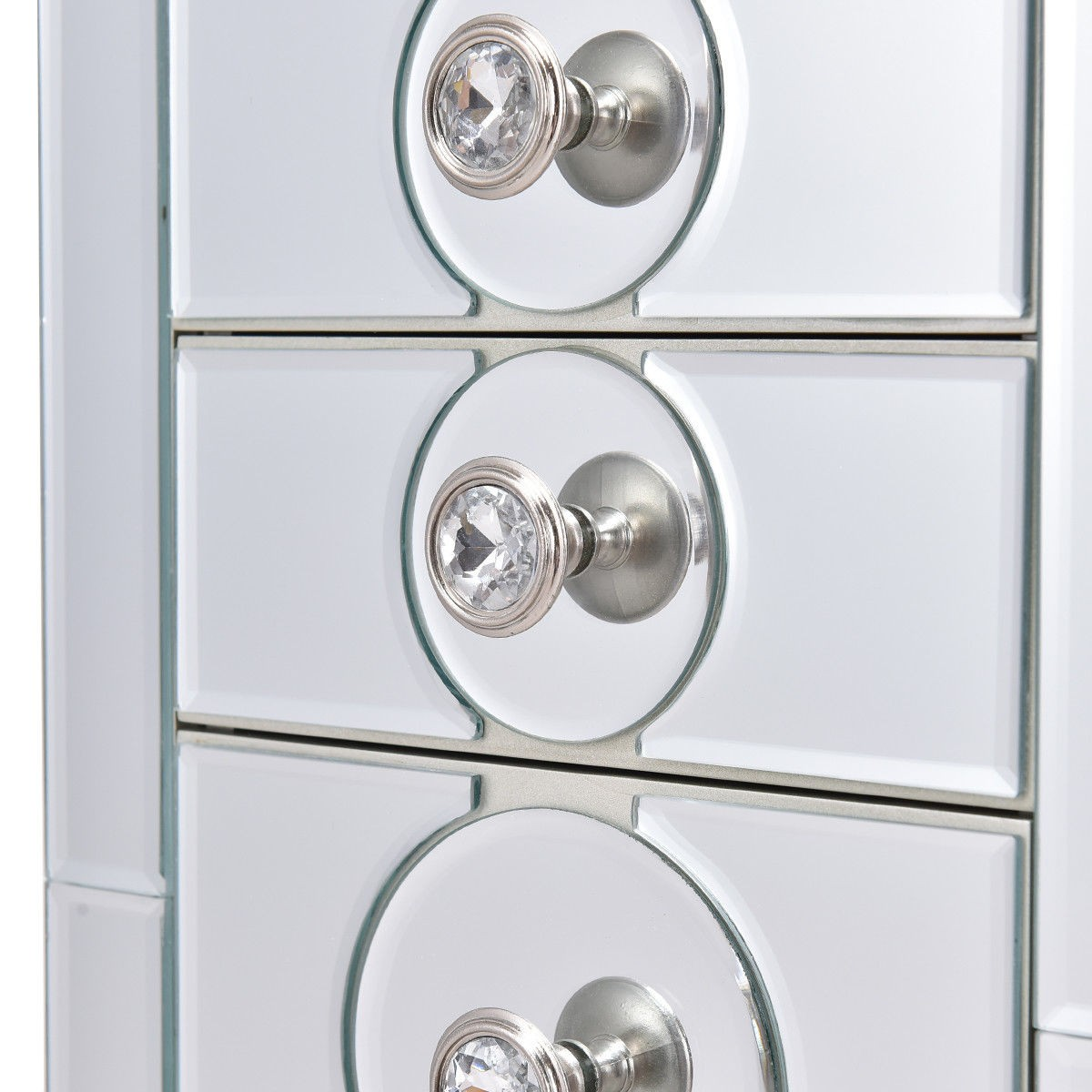 Standing Jewelry Storage Cabinet Armoire with 4 Drawers Mirror