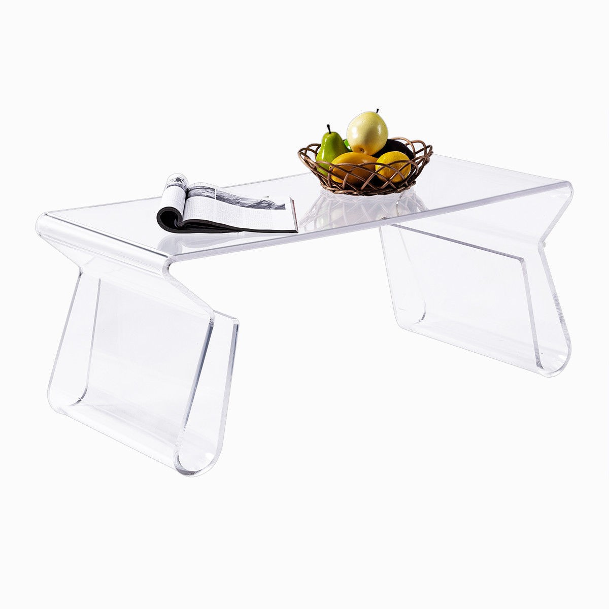 38 Clear Acrylic Coffee Table With Integrated Magazine Rack By Choice Products
