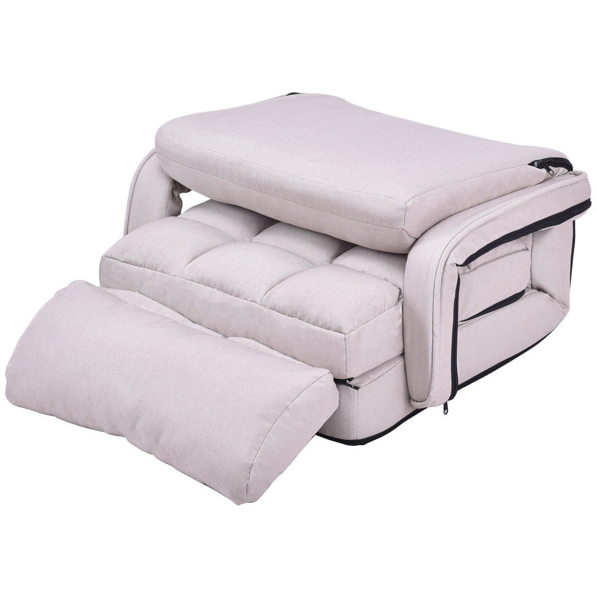 Folding Lazy Floor Chair Sofa with Armrests and Pillow – By Choice ...