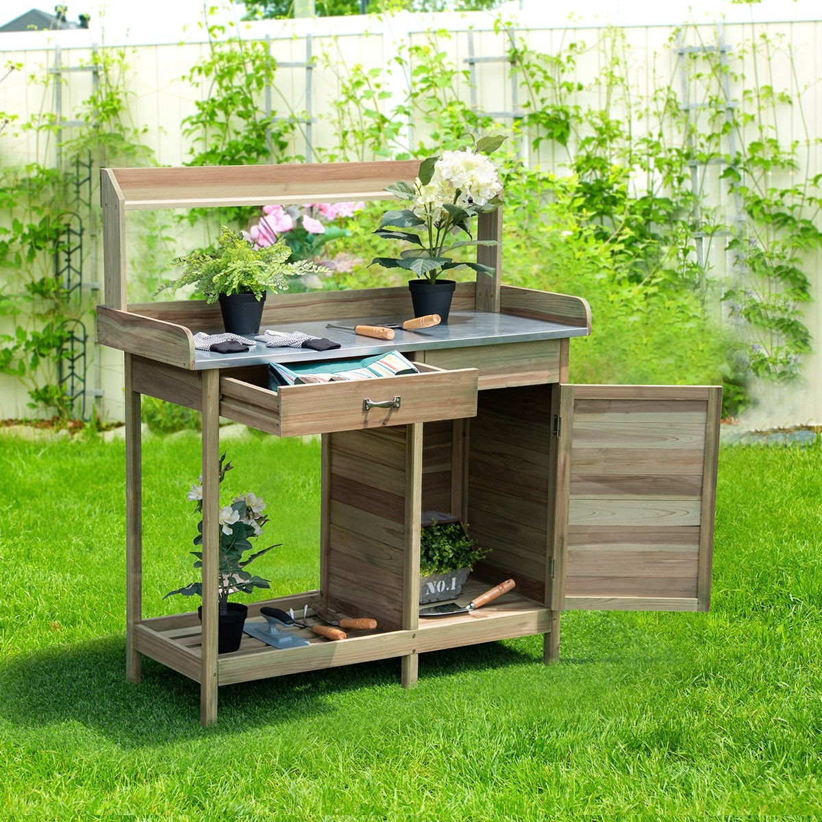 Fabulous Outdoor Garden Wooden Work Station Potting Bench Andrewgaddart Wooden Chair Designs For Living Room Andrewgaddartcom
