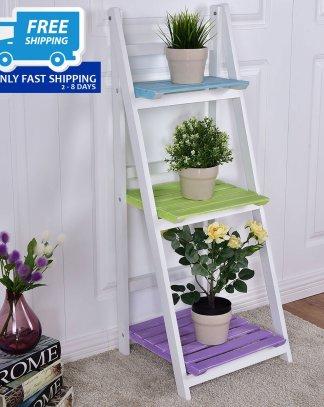 Wooden 3-Tier Folding Display Shelf