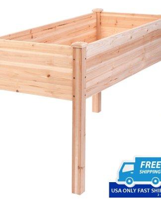 Wooden Elevated Raised Vegetable Garden Bed