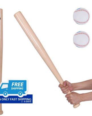 "2 pcs 34"" Natural Wooden Baseball Bat and 2 pcs 9"" Baseball"