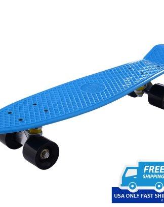 """Mini Retro 22"""" Cruiser Style Skateboard Complete Deck Plastic Skate Board"""