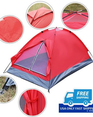 Green / Red Waterproof 2 Person Camping Tent w/ 1 Door