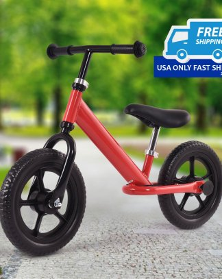 "White/Red 12"" Kids No-Pedal Bike w/ Adjustable Seat"