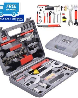 44 PC Multi-Function Bike Bicycle Home Mechanic Tool Repair Kit Set Box Cycling