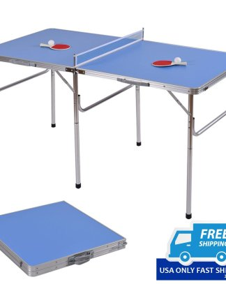 """60"""" Portable Table Tennis Ping Pong Folding Table w/Accessories Indoor Game"""