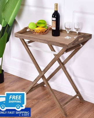 Natural Portable Folding Serving Tray Table