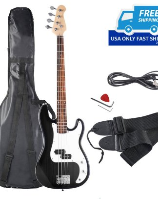 Full Size 4-String Electric Bass Guitar with Strap Bag