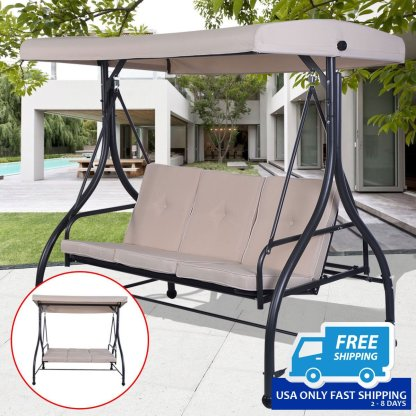 3 Seats Cushioned Porch Swing Chair
