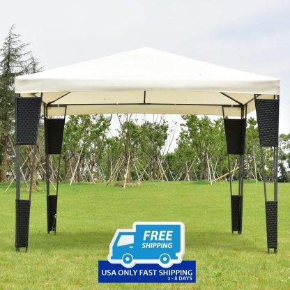 Outdoor 10' x 10' Rattan Wicker Gazebo Canopy