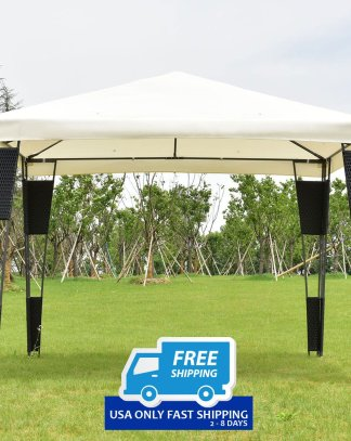 Outdoor 10' x 10' Rattan Wicker Gazebo Canopy
