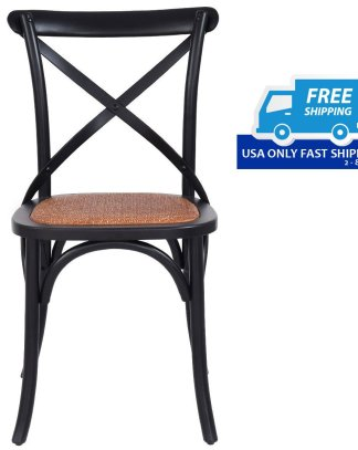 Rattan Cross Back Dining Chair