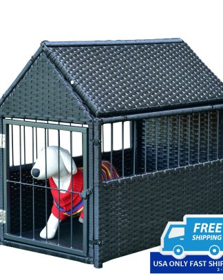 Durable Rattan Pet House Dog Cage