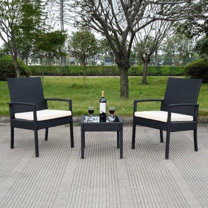 3 pcs Outdoor Rattan Patio Furniture Set