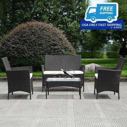 4 pcs Outdoor Patio Rattan Wicker Cushioned Sofa Table