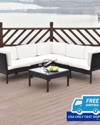 6 pcs Right Angle Rattan Wicker Patio Furniture Set