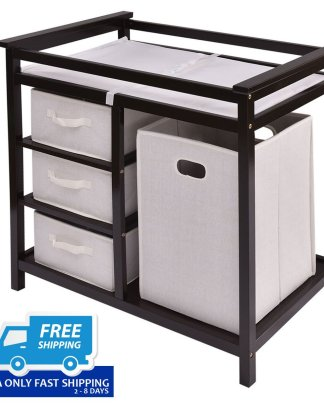 Infant Baby Changing Table w/3 Basket Hamper Diaper Storage Nursery