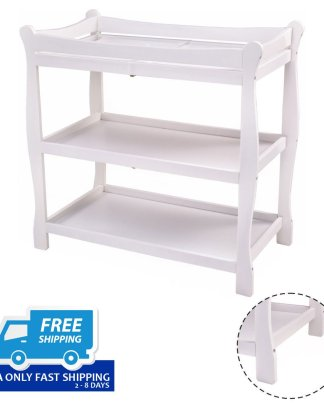 Sleigh Style Baby Changing Table Infant Newborn Nursery Diaper Station