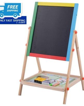 Adjustable 2 In 1 Wooden Easel Chalk Drawing Board Black / White Children Kids