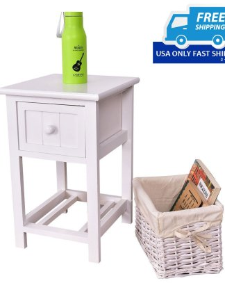 Wooden 2-Layer Bedside End Table Nightstand with Basket + Drawer
