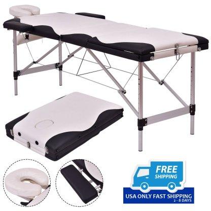 "Black / White 72""L Portable Massage Table w/ Carry Case"