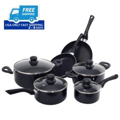 Kitchen Pan Set German Made Cabinets 16 Piece Non Stick Cooking Cookware Pots And Pans