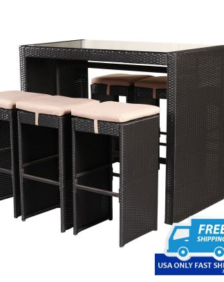 7 pcs Rattan Wicker Bar Table Stools Furniture Set