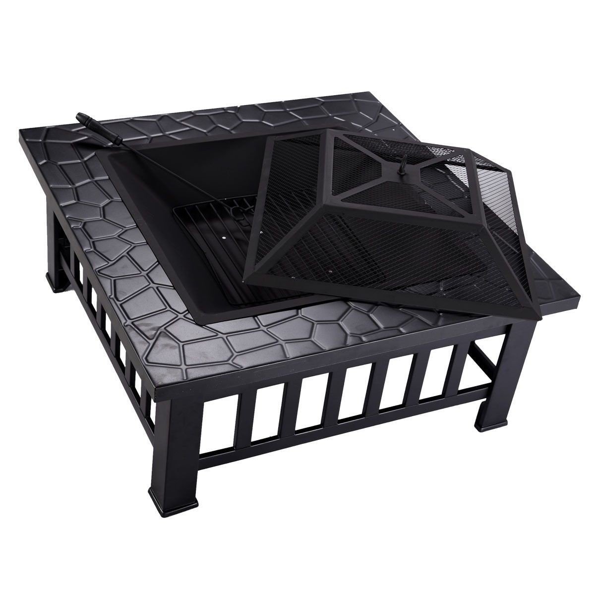 Square Metal 32″ Outdoor Stove BBQ Fire Pit - By Choice ...