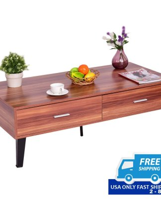 Modern Wooden Coffee Table with 2 Drawers