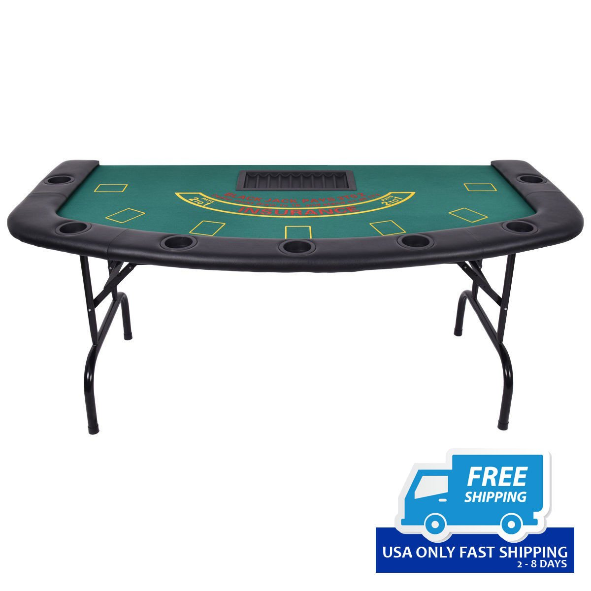 7 Players Texas Holdem Foldable Poker Table