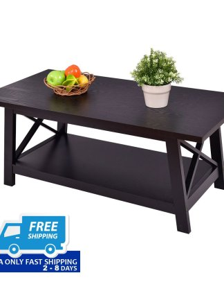 Durable Rectangular Coffee Table with Storage Shelf