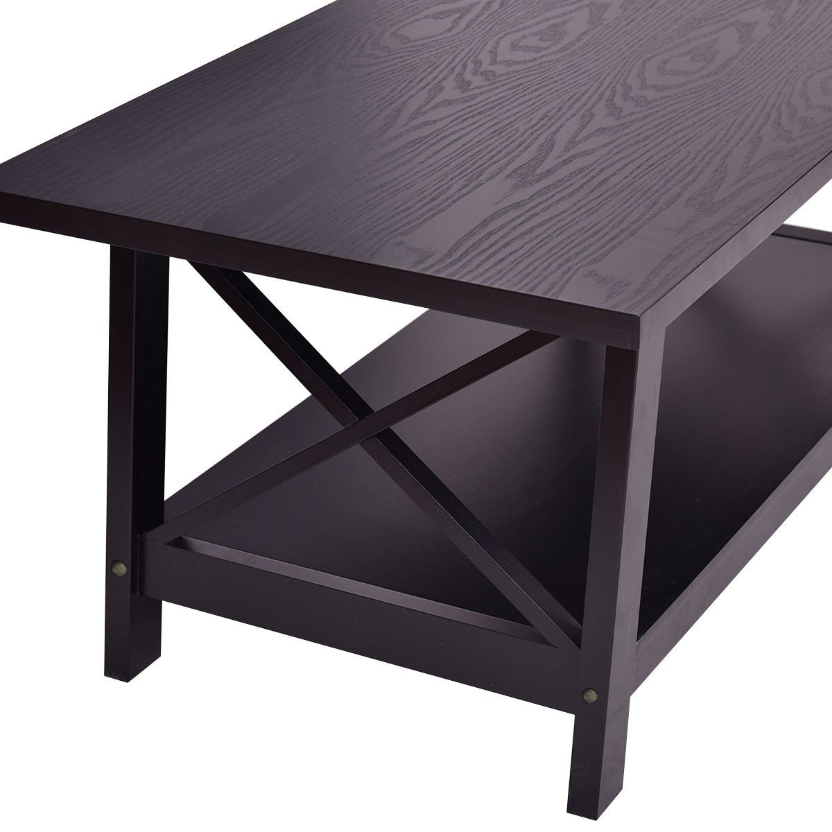Durable Rectangular Coffee Table With Storage Shelf By Choice Products