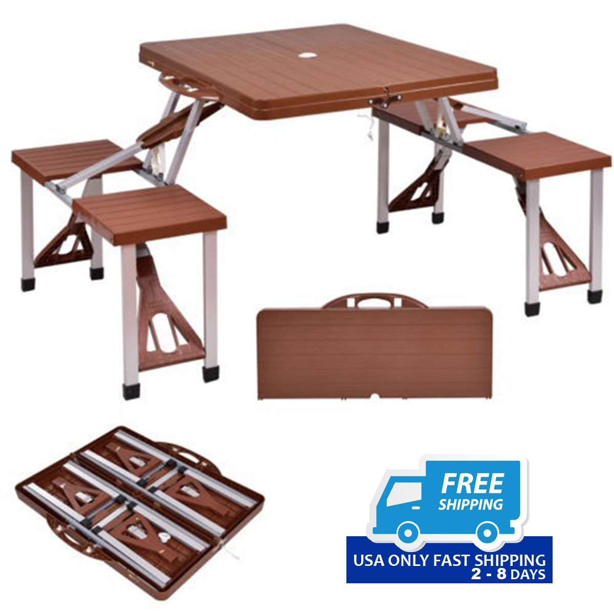 Outdoor foldable aluminum picnic table with bench seats by choice outdoor foldable aluminum picnic table with bench seats watchthetrailerfo