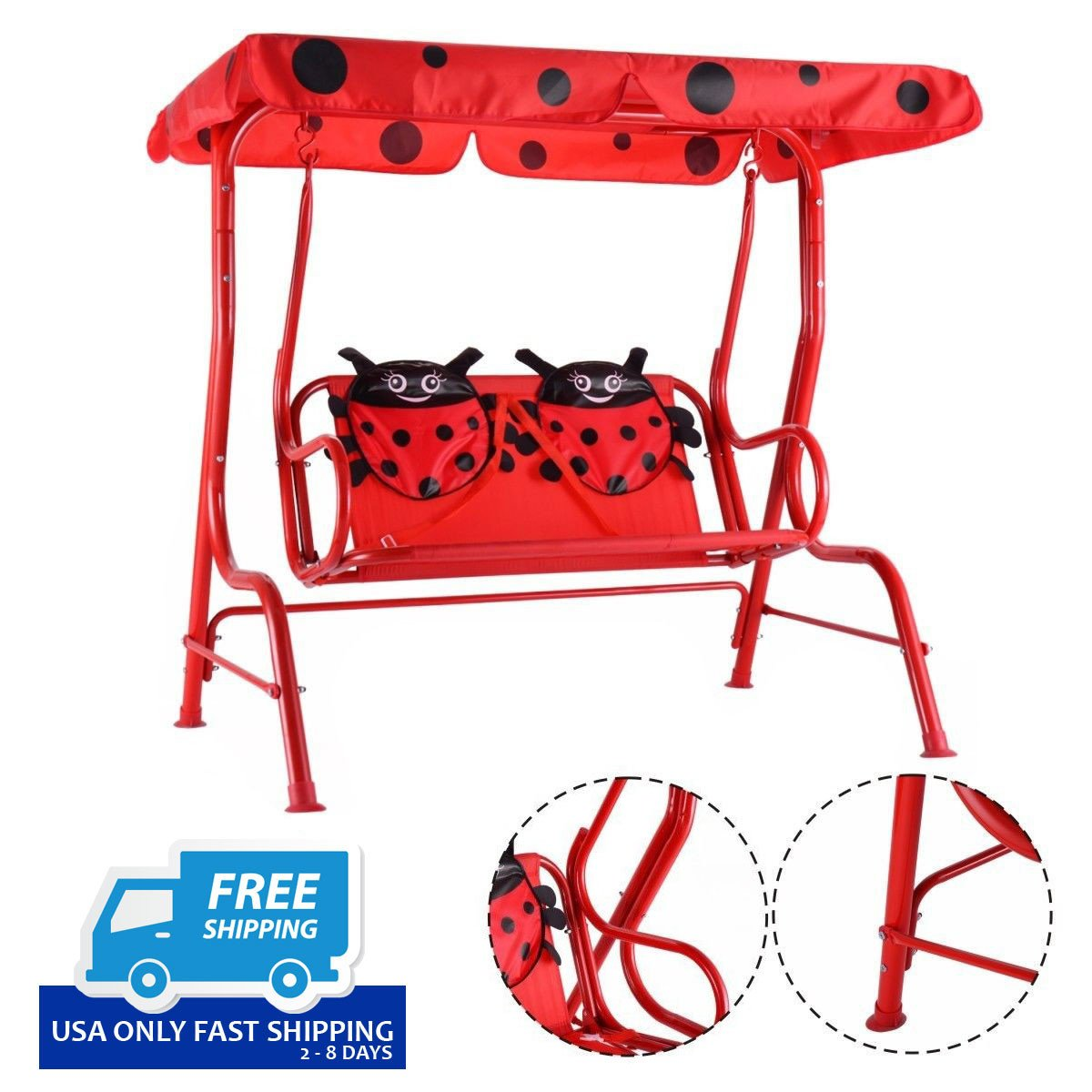 Elegant Kids Patio Swing Chair Children Porch Bench Canopy 2 Person Yard Furniture  Red