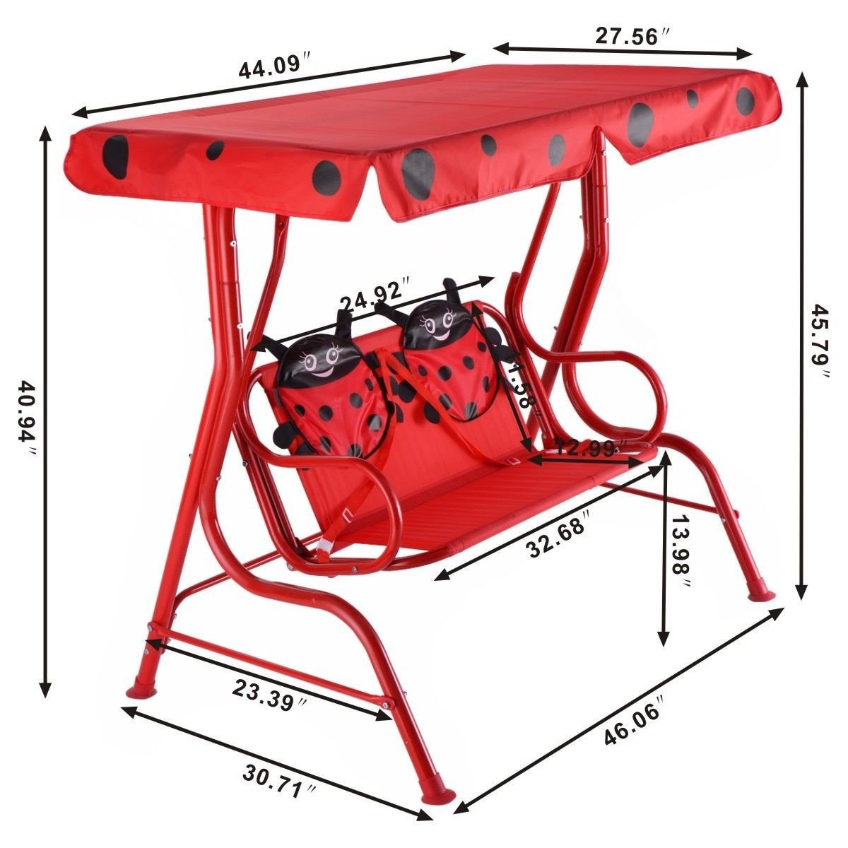 Charming Kids Patio Swing Chair Children Porch Bench Canopy 2 Person Yard Furniture  Red