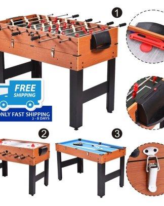 "48"" 3-In-1 Multi Combo Game Table Foosball Soccer Billiards Pool Hockey For Kids"