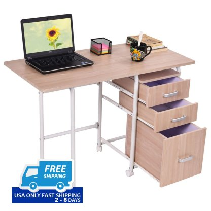 Foldable Computer Laptop Desk with 3 Drawers