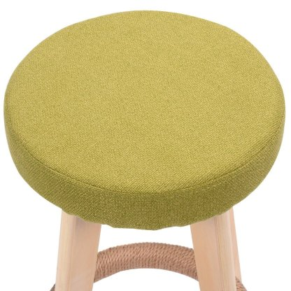 Round Wooden Linen Counter Bar Stool