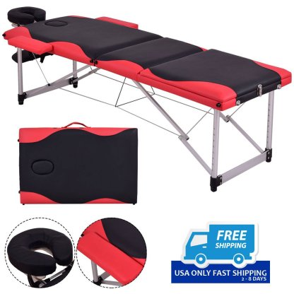 "Black&Red 72""L Portable Massage Table w/Free Carry Case"