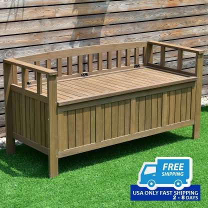 70 Gallon 2-in-1 Outdoor Garden Bench Storage Deck Box