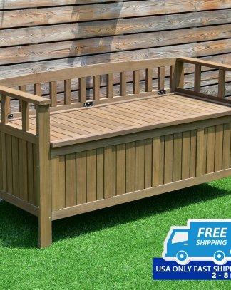 70 Gallon 2-in-1 Outdoor Garden Bench Storage Deck Box