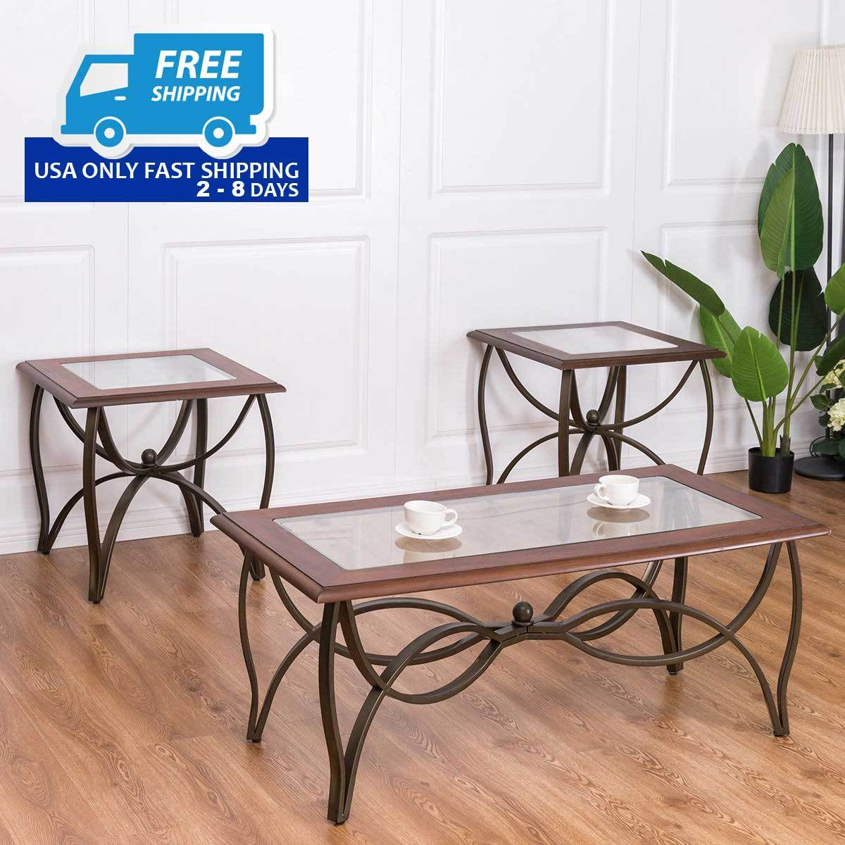 3 Pcs Elegant Wood Glass Coffee Table Set By Choice Products